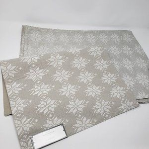 Threshold Placemats Set of 4 White Gray Silver Sno